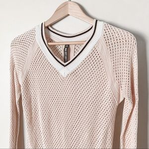 Design Lab Blush Open Weave Crochet Sweater